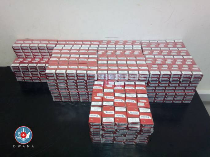 16,000 contraband cigarettes were found in each of the two luggage cases